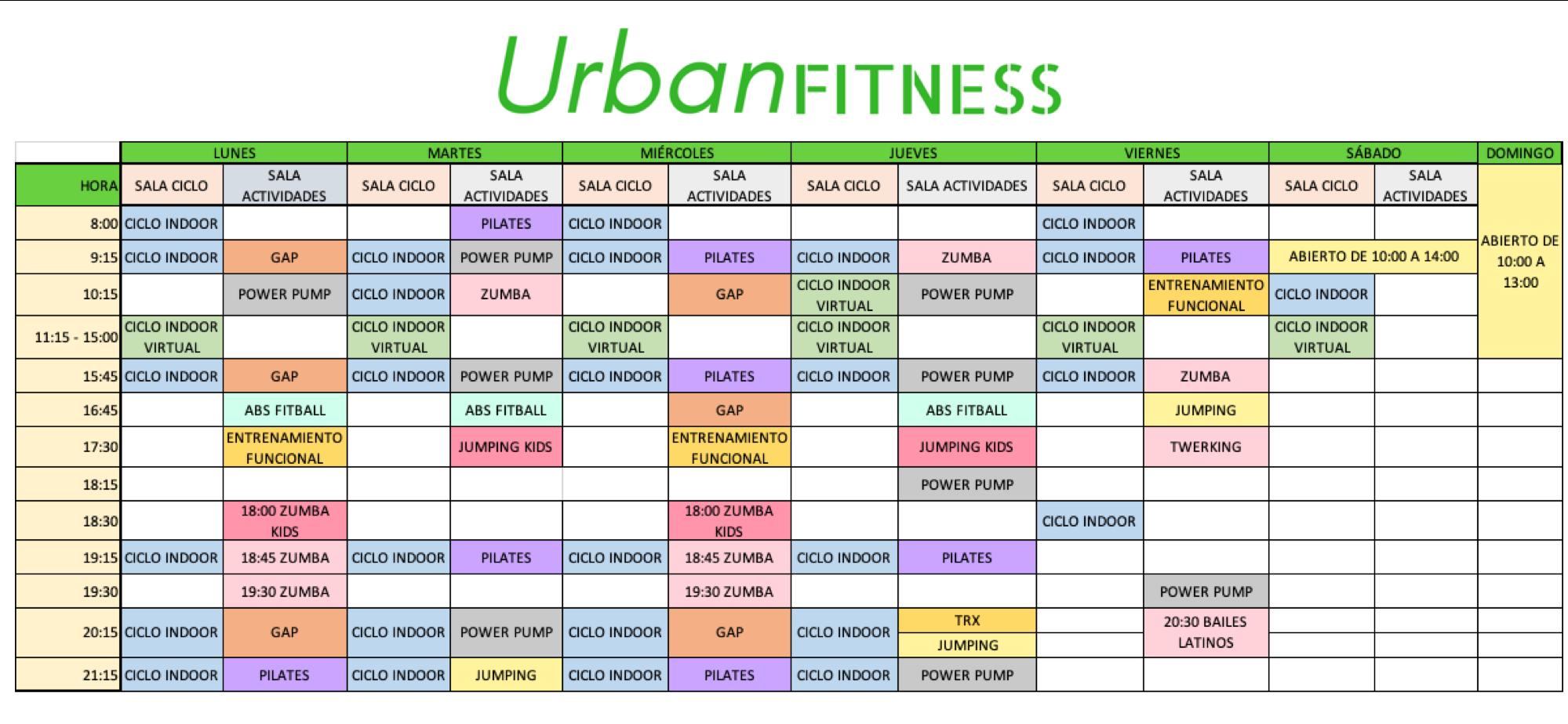 Horario Urban fitness Orihuela enero